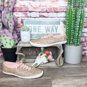 Kate Spade Keds Sneakers Rose Gold Glitter New Size 7.5 No Box